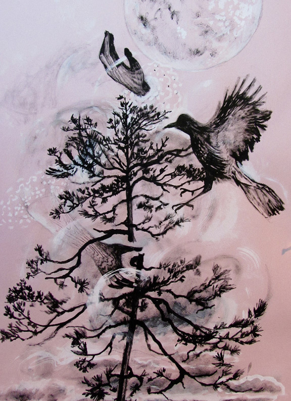 Liz Downing drawing, Broke the brittle boughs