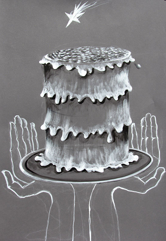 Liz Downing drawing, Cake Sweet and Tall