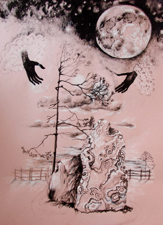 Liz Downing drawing, Gothic Western Pine