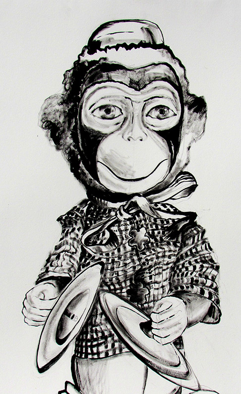 Liz Downing drawing, Wind Up Toy Monkey
