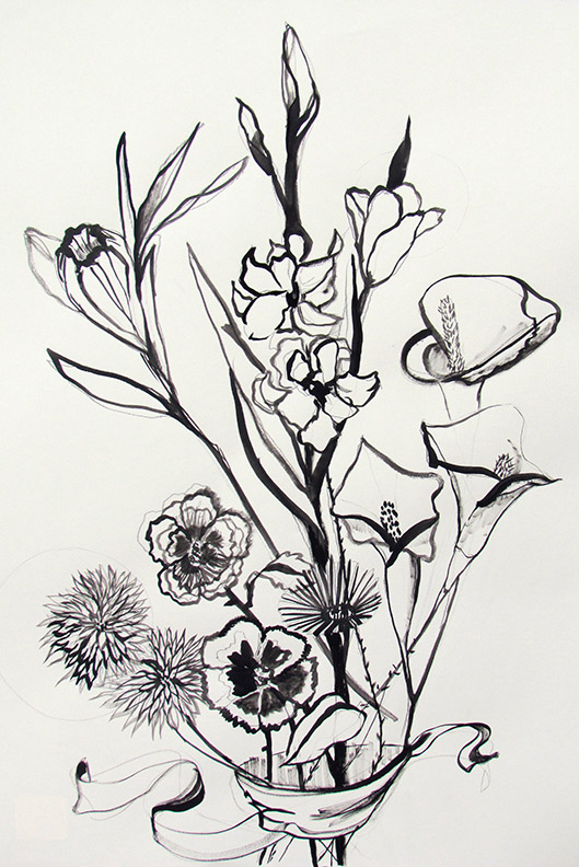 Liz Downing drawing, Bouquet